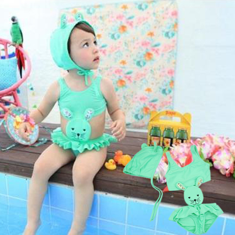 C80606A little girl's lovely rabbit shape swimming suit