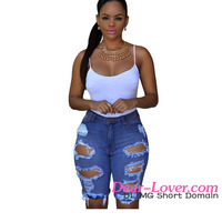 Women Jeans 2016 Wholesale Cheap Sexy Tight Denim Destroyed Bermuda Shorts Jeans