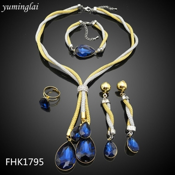 Simple style Africa Jewelry set royal blue noble Necklace Earrings Jewelry set for party dress