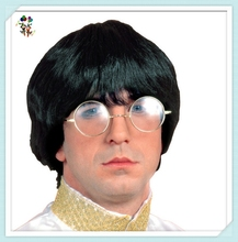 Short Male Groovy Party Disguise Black Adult Wigs HPC-1245