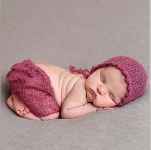 Newborn Baby Photo Clothing Soft Mohair Infant Photography Props Hat+Pants 2pcs Set Boy Girl Knitted Outfits
