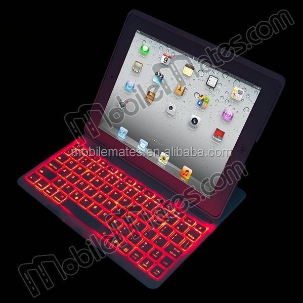 Backlighting Keyboard Case for iPad, Flip PU+Aluminum Hard Backlight Bluetooth Keyboard Case for iPad 2/3/4