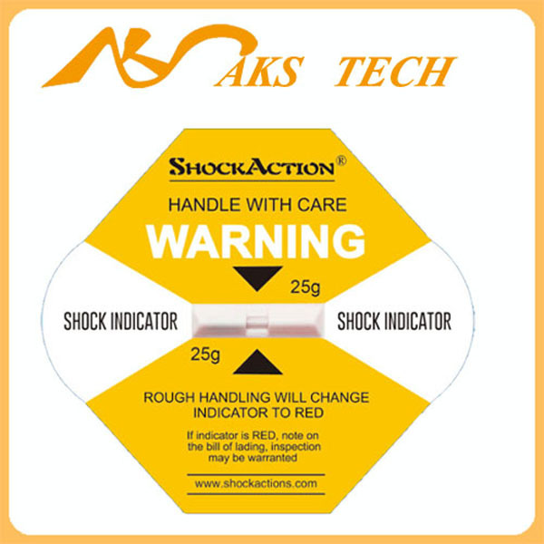 Impact tag Shockaction effect as Shockwatch label stickers