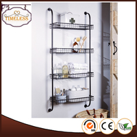 Powder coating wrought iron Industrial Style 4 tiers metal wall shelves