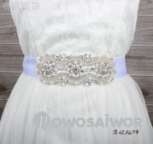 Rhinestones Applique Bridal Dress Belt Sash Handmade WS1002