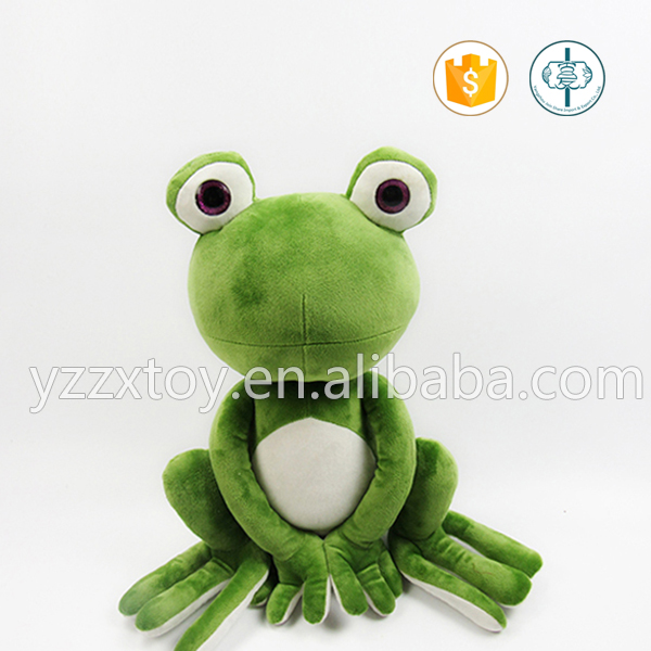 Custom stuffed lovely green frog animal plush toy with big eyes