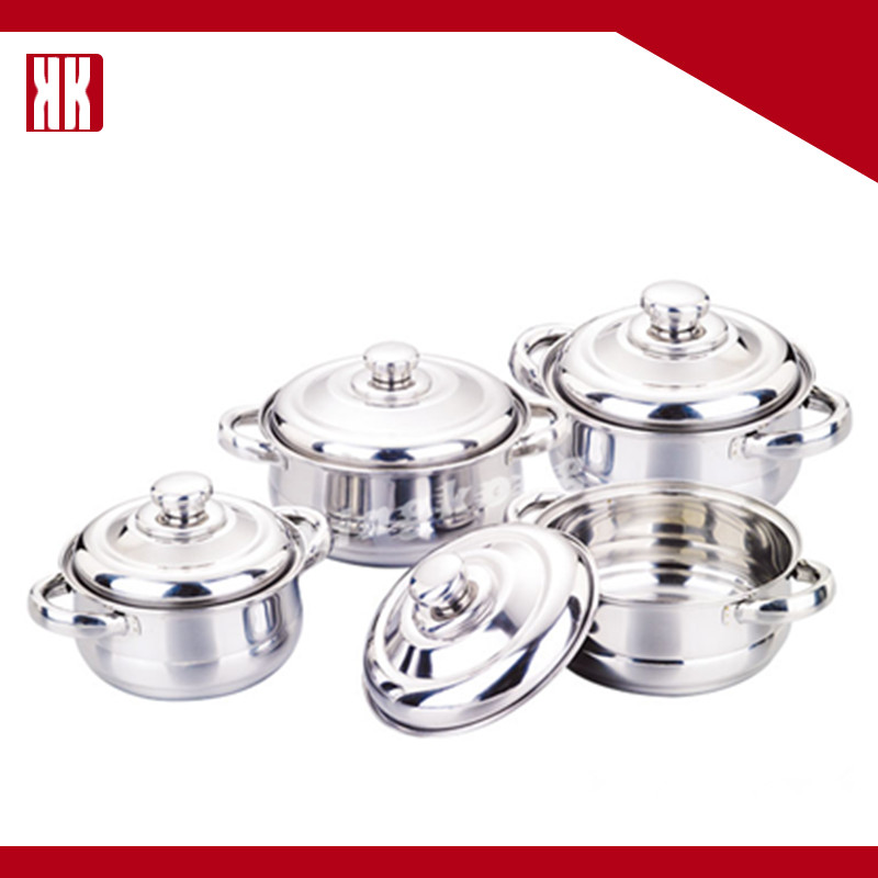 Stainless Steel Mirror Polished 8PCS Belly Shape Cookware Set