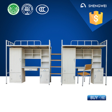 Dormitory wood and steel double bed designs with box