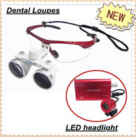 2.5X or 3.5X Red color dental loupes/magnifier with LED light/ five colors
