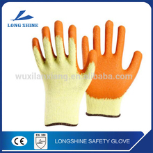 EN388 10 Gauge Knitted Foam Latex Rubber Coated Cotton Lined Crinkle Work Safety Gloves for Industry