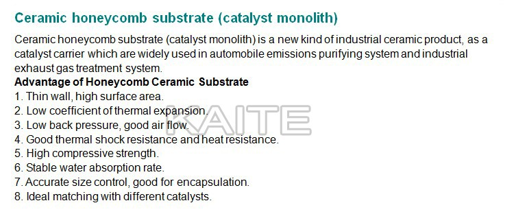 Cordierite honeycomb ceramic monolith for catalyst substrate