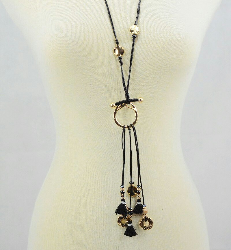 rani haar designs wholesale fashion hanging little ring and tassel metal long wax cord necklace