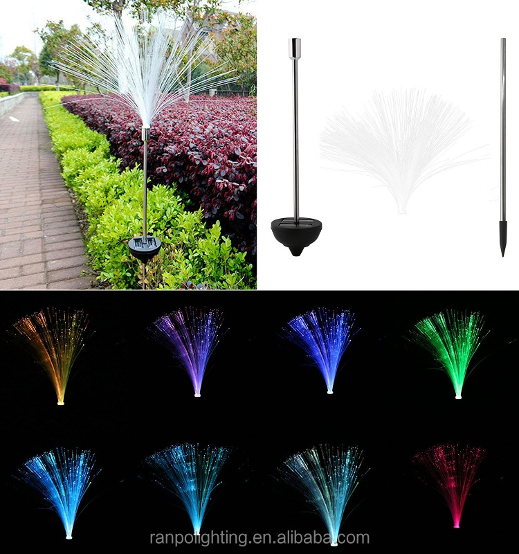 Color Changing LED Solar Garden Lights Fiber Optic Landscape Lamps Decorative Bulbs Decking Flower Beds and Driveway IP44