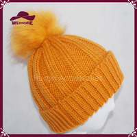 Women's Fur Beanie Pop Hat Knitted Wooly Beanie Faux Fur Pom Pom Ski Winter Hat
