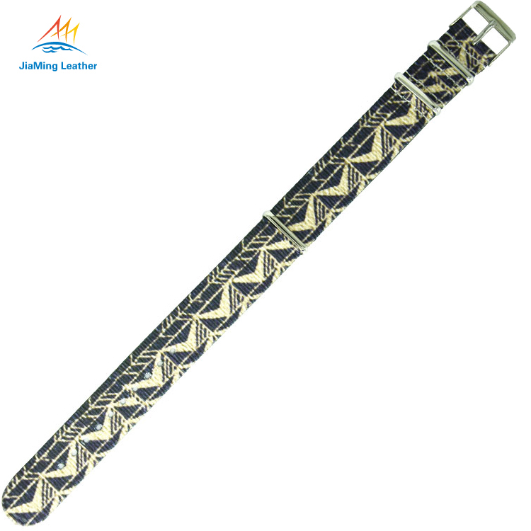 Replacement Tag Black Alligator Nylon Printed Watch Strap