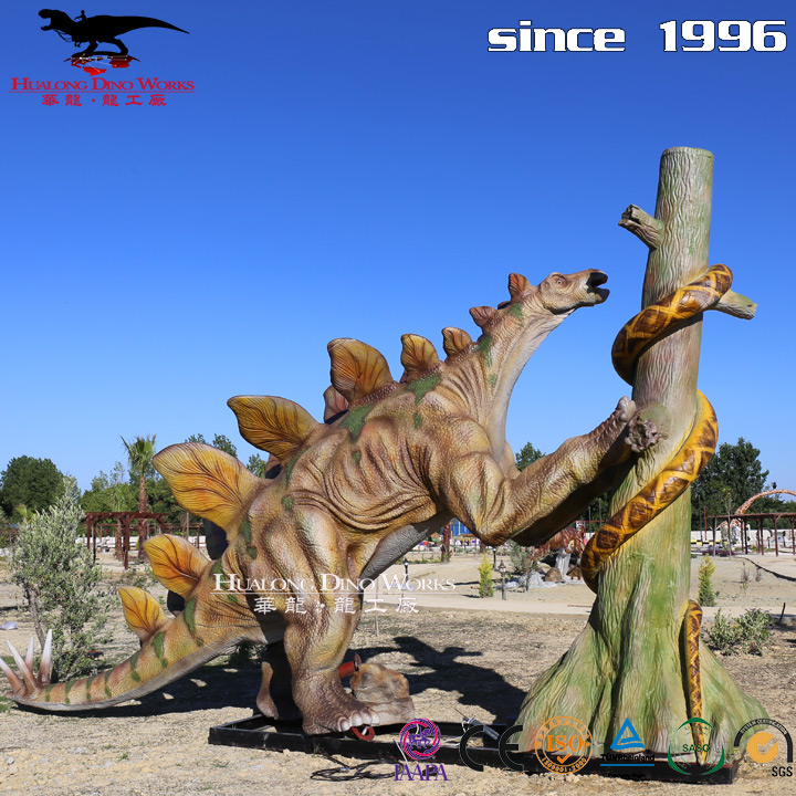 Emulational life-size Stegosaurus push tree