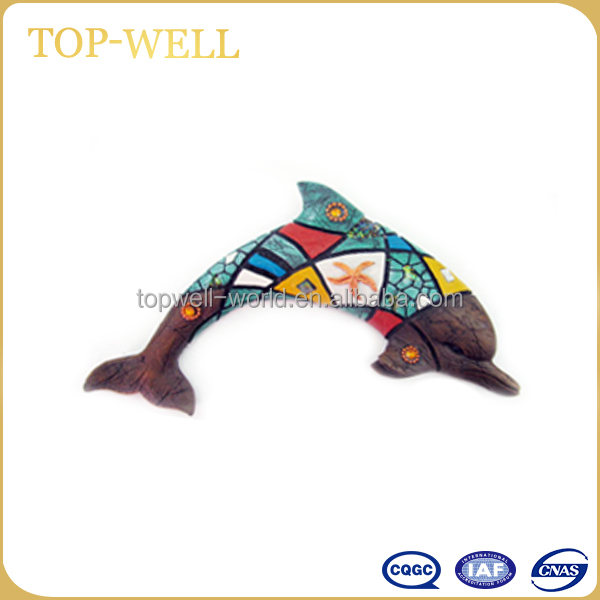 Popular 4 designs polyresin blue dolphin wall hanging