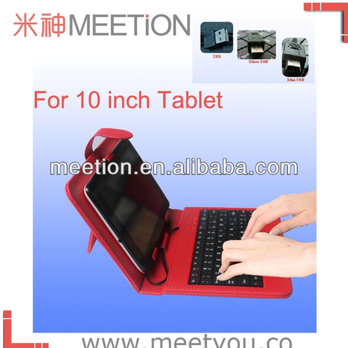 10inch leather case wired keyboard for samsung tablet pc