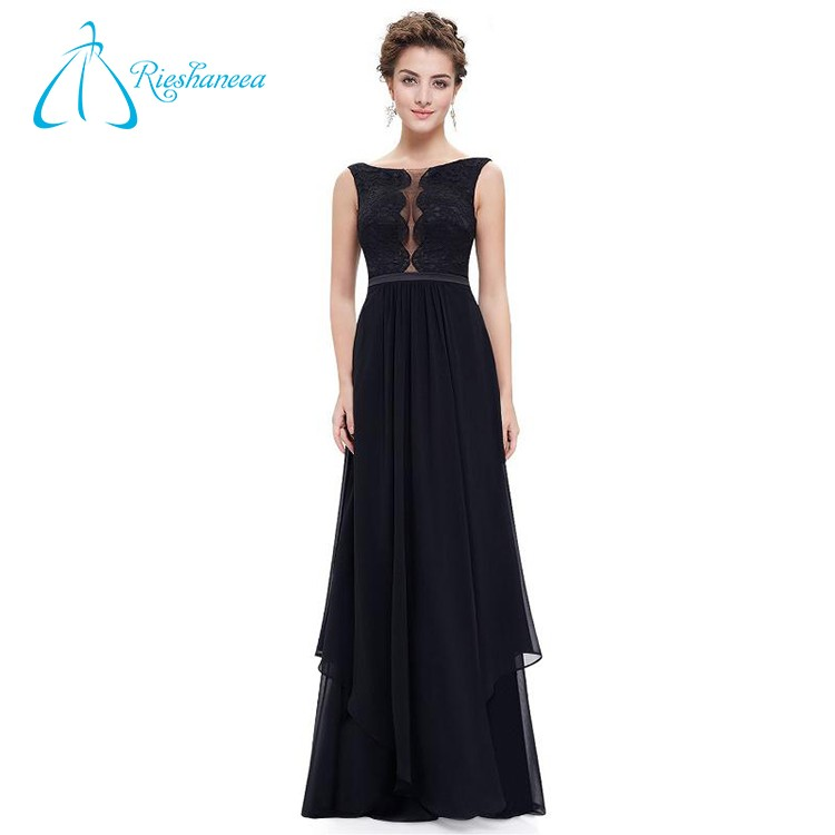 Floor Length Lace Sashes Chiffon Sexy Black Evening Dress
