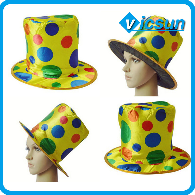 clown performance hat colored dots magic top hat stage masquerade props