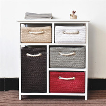 Space Saving Wooden Storage Cabinet with wheat straw Woven Basket Drawer