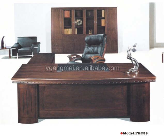 Classical office equipment L shape office used executive desk with side table