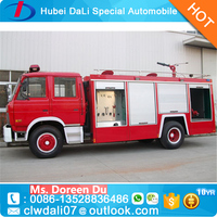 Dongfeng brand 4*2 fire truck for sale, ladder fire fighting truck, led light bar fire truck