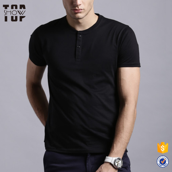2017 hot new products plain henley neck hot basic t shirt short sleeves