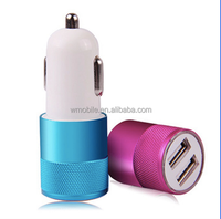 New Style 5 V 2.1A Metal Dual Port USB Car Charger Mini Bullet Vehicle-mounted Mobile Charger