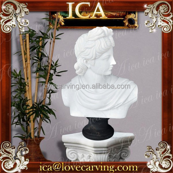 Home famous apollo man bust natural white stone sculpture