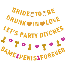 Party Bitches Gold Banner Bachelorette Party Bridal Shower Same Penis Forever Hen Party Wedding Decor