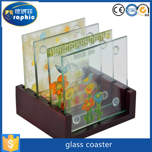 Waterproof and recycle souvenirs glass material customized coasters