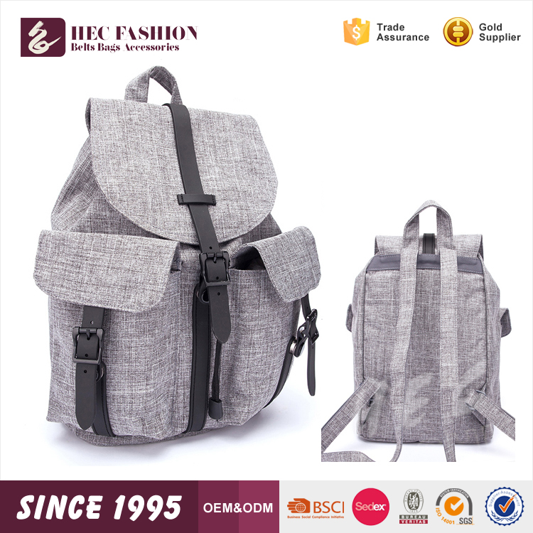 HEC Online Shopping Chinese Plain Canvas Designer Grey Color School Kids Backpack