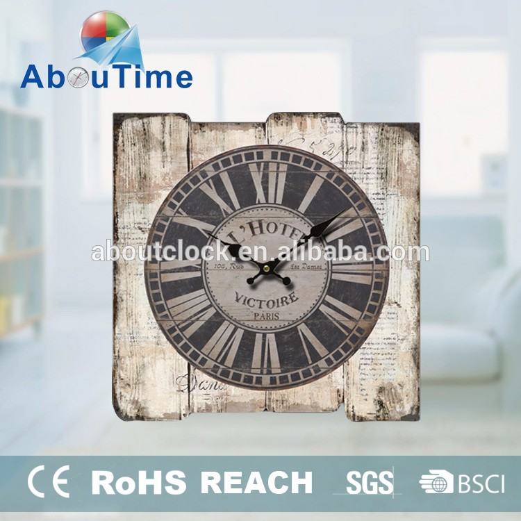 Retro Primitive Wood Wall Clock for Decor