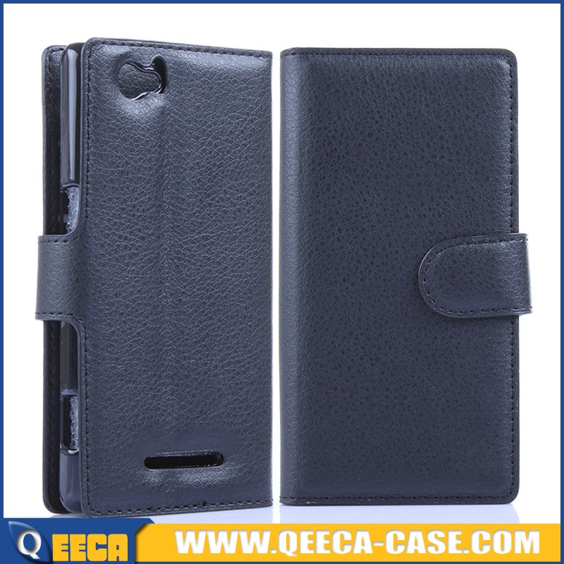Wholesale price wallet leather case flip cover for sony xperia m