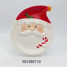 Customized Ceramic/Eartheware Christmas santa candy <strong>plate</strong>