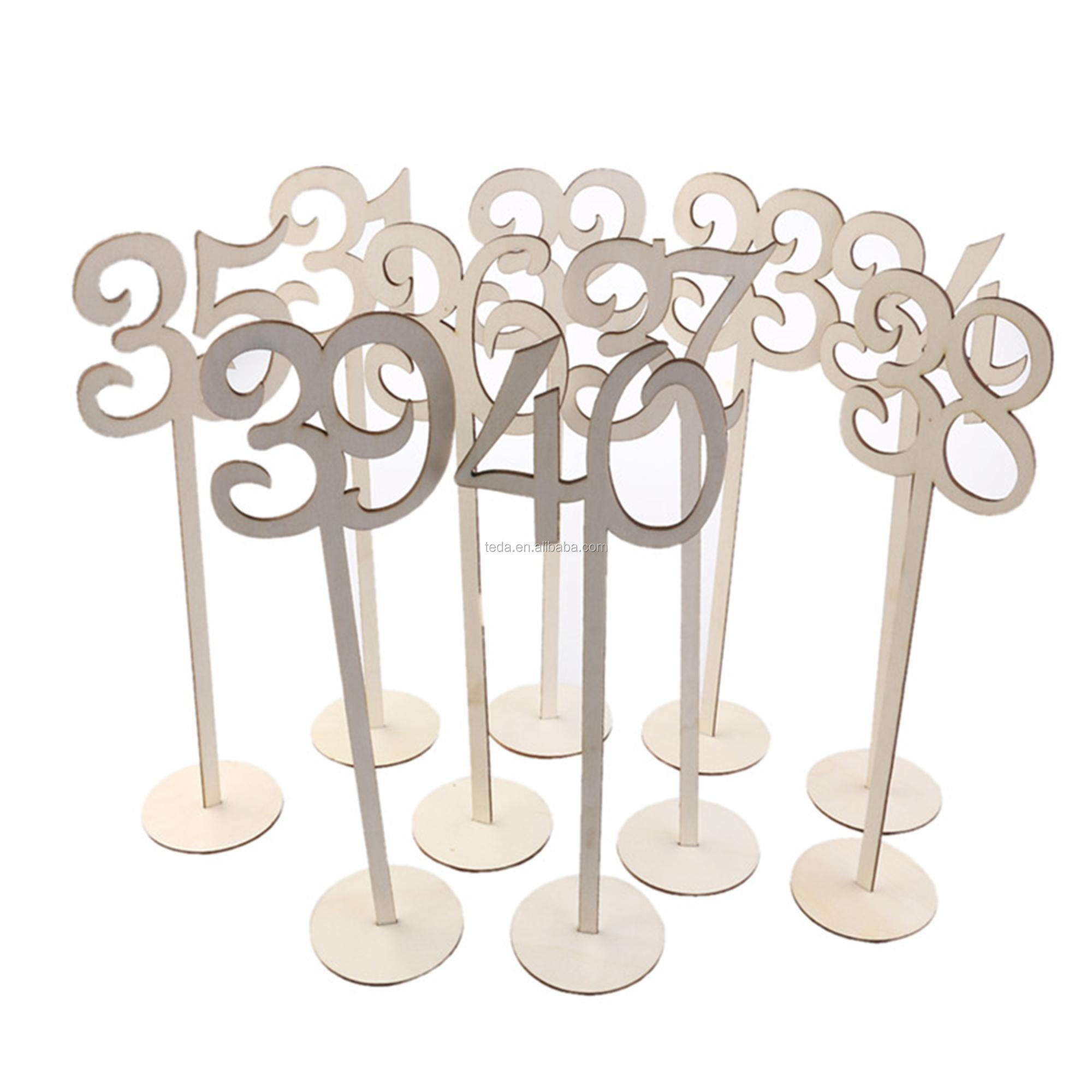 1-40 Wood Table Numbers with Holder Base for Wedding Home Wedding Anniversary Party Decoration