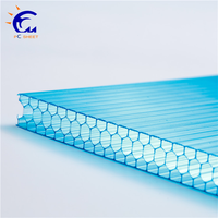 polycarbonate factory 8mm clear and lake blue plastic honeycomb sheet