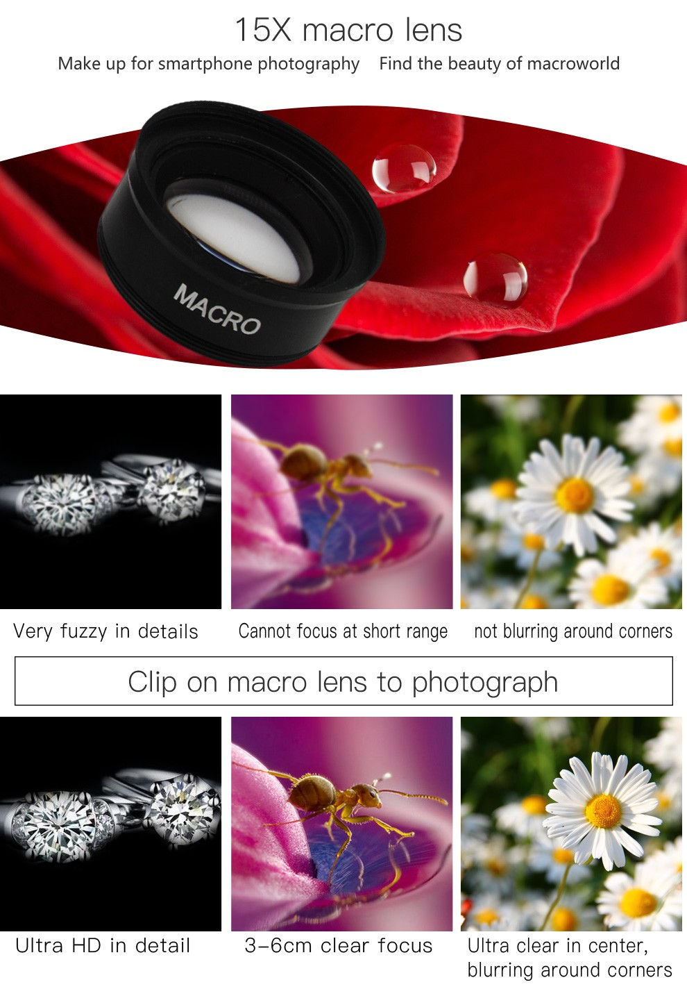 2 in 1 Clip 0.45x wide Angle Lens+10x Macro Lens accessories mobile phone for SE,7,7 Plus, 6, 6S, 6 Pl