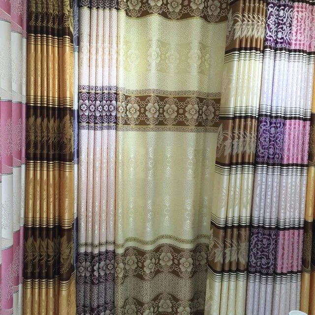 Classic Indian curtain style stripe jacquard curtain fabric for custom made drape