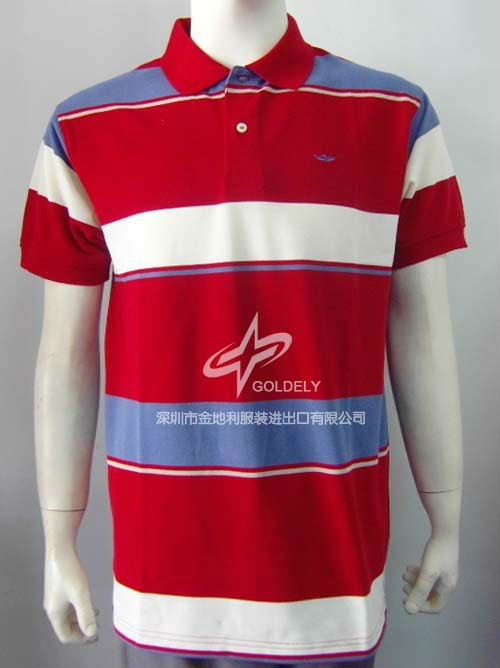 Yarn dye men's stripe golf T-shirt with pique fabric in 2013 summer