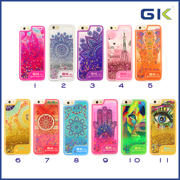 [GGIT] New Fashion Ultra-thin LED Flash Light Liquid TPU Cell Phone Case For IPhone 6 Back Cover