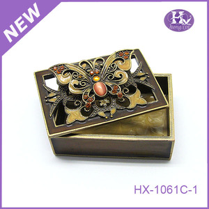 HX-1061 Promotion Peony Epoxy rolling portable Metal preserve Purse jewelry Case