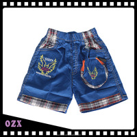 Comfortable blue kid boys shorts 100% cotton with elastic waistband