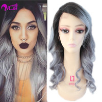 7A silver grey human hair wigs Brazilian full lace wigs Body Wave Glueless Full Lace Wig with baby hair for white/black women