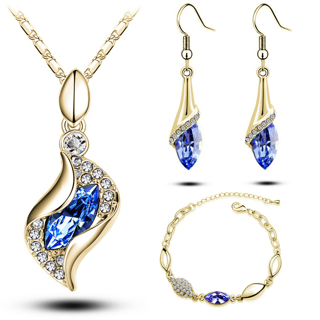 Top Quality Elegant luxury design new fashion 18k Rose Gold plated colorful Austrian crystal drop jewelry sets women gift g206