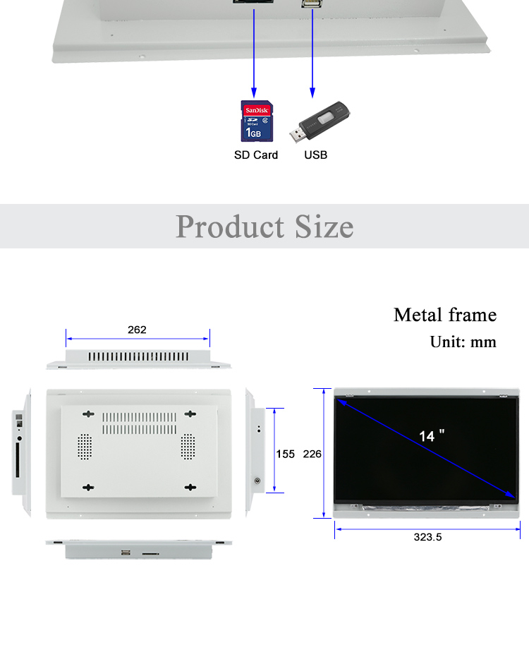 Open frame HD mini flat screen 14 inch TV lcd display