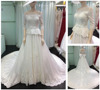 2016 Fashion High Quality Lace Applique Sequined Ball Gown Off-Shoulder Long Sleeve Tulle Wedding Dress for Wedding Party A139