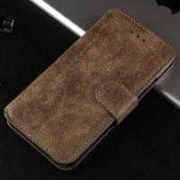 Tan Color PU Leather Frosted Vintage Stand Wallet Mobile Phone Leather Case For iphone 6