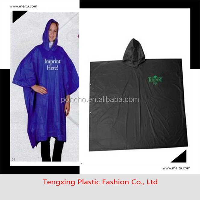 whloesales colored reusable logo rain poncho